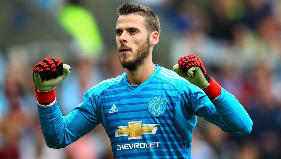 BURNLEY, ENGLAND - SEPTEMBER 02: David De Gea of Manchester United celebrates his sides first goal during the Premier League match between Burnley FC and Manchester United at Turf Moor on September 2, 2018 in Burnley, United Kingdom.  (Photo by Chris Brunskill/Fantasista/Getty Images)