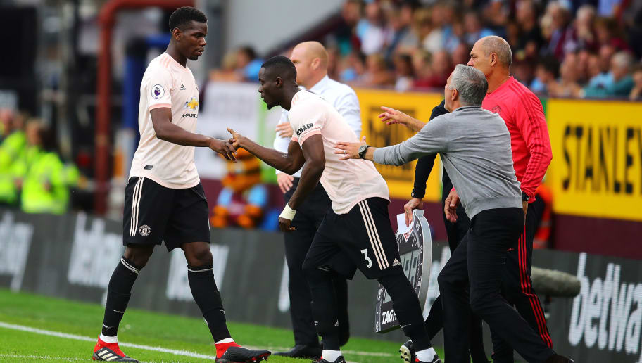 BURNLEY, ENGLAND - SEPTEMBER 02: Paul Pogba of Manchester United is replaced by teammate Eric Bailly during the Premier League match between Burnley FC and Manchester United at Turf Moor on September 2, 2018 in Burnley, United Kingdom.  (Photo by Chris Brunskill/Fantasista/Getty Images)
