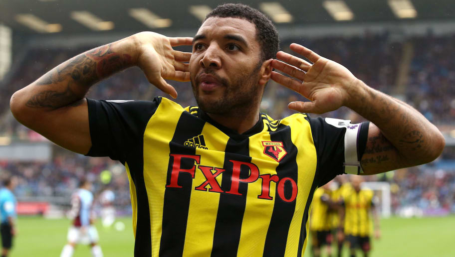BURNLEY, ENGLAND - AUGUST 19:  Troy Deeney of Watford celebrates after scoring his sides second goal during the Premier League match between Burnley FC and Watford FC at Turf Moor on August 19, 2018 in Burnley, United Kingdom.  (Photo by Jan Kruger/Getty Images)