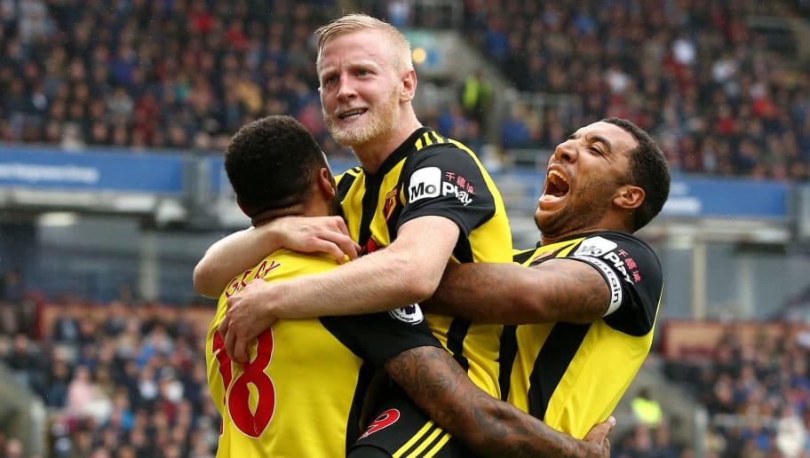 BURNLEY, ENGLAND - AUGUST 19:  Will Hughes of Watford celebrates with teammates after scoring his team's third goal during the Premier League match between Burnley FC and Watford FC at Turf Moor on August 19, 2018 in Burnley, United Kingdom.  (Photo by Jan Kruger/Getty Images)
