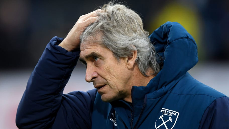 BURNLEY, ENGLAND - DECEMBER 30: Manuel Pellegrini, Manager of West Ham United reacts prior to the Premier League match between Burnley FC and West Ham United at Turf Moor on December 30, 2018 in Burnley, United Kingdom.  (Photo by Stu Forster/Getty Images)