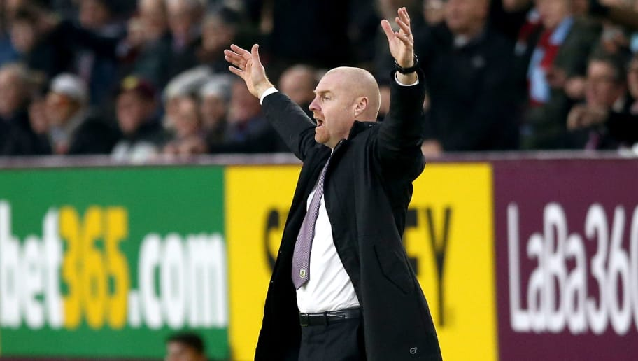 BURNLEY, ENGLAND - DECEMBER 30: Sean Dyche, Manager of Burnley reacts during the Premier League match between Burnley FC and West Ham United at Turf Moor on December 29, 2018 in Burnley, United Kingdom.  (Photo by Jan Kruger/Getty Images)