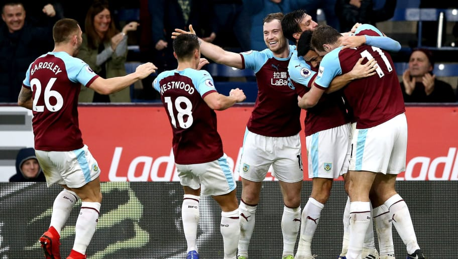 BURNLEY, ENGLAND - DECEMBER 30:  Dwight McNeil of Burnley celebrates after scoring his team's second goal with his team mates during the Premier League match between Burnley FC and West Ham United at Turf Moor on December 29, 2018 in Burnley, United Kingdom.  (Photo by Jan Kruger/Getty Images)