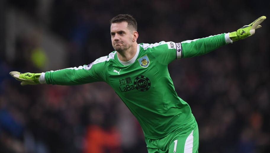 BURNLEY, ENGLAND - DECEMBER 30:  Burnley goalkeeper Tom Heaton celebrates the second goal during the Premier League match between Burnley FC and West Ham United at Turf Moor on December 30, 2018 in Burnley, United Kingdom.  (Photo by Stu Forster/Getty Images)