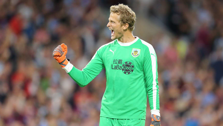 BURNLEY, ENGLAND - AUGUST 02: Anders Lindegaard of Burnley celebrates after Ashley Barnes of Burnley scores a goal to make it 3-1 on Aggregate during the UEFA Europa League Second Qualifying Round: 2nd Leg match between Burnley and Aberdeen at Turf Moor on August 2, 2018 in Burnley, England. (Photo by James Williamson - AMA/Getty Images)
