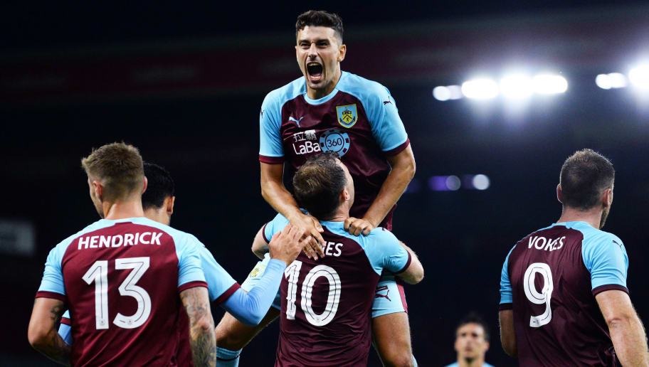 BURNLEY, ENGLAND - AUGUST 02:  Ashley Westwood of Burnley celebrates after Ashley Barnes scores during the UEFA Europa League Second Qualifying Round match between Burnley and Aberdeen at Turf Moor on August 2, 2018 in Burnley, England. (Photo by Nathan Stirk/Getty Images)