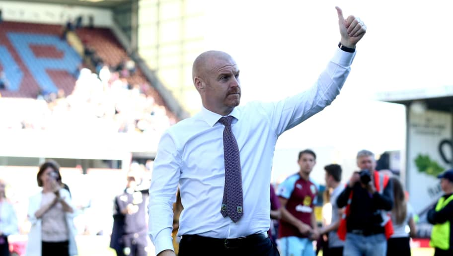 BURNLEY, ENGLAND - MAY 13:  Sean Dyche, Manager of Burnley shows appreciation to the fans after  the Premier League match between Burnley and AFC Bournemouth at Turf Moor on May 13, 2018 in Burnley, England.  (Photo by Jan Kruger/Getty Images)