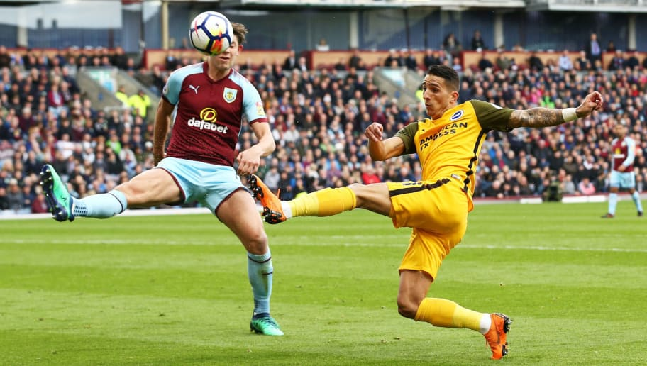 BURNLEY, ENGLAND - APRIL 28:  Anthony Knockaert of Brighton and Hove Albion is blocked by James Tarkowski of Burnley during the Premier League match between Burnley and Brighton and Hove Albion at Turf Moor on April 28, 2018 in Burnley, England.  (Photo by Jan Kruger/Getty Images)