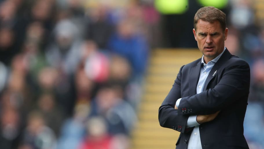 BURNLEY, ENGLAND - SEPTEMBER 10: Frank de Boer head coach / manager of Crystal Palace during the Premier League match between Burnley and Crystal Palace at Turf Moor on September 10, 2017 in Burnley, England. (Photo by Robbie Jay Barratt - AMA/Getty Images)