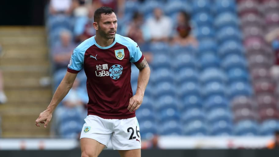 BURNLEY, ENGLAND - AUGUST 05: Phil Bardsley of Burnley during the Pre-Season Friendly between Burnley and Espanyol at Turf Moor on August 5, 2018 in Burnley, England. (Photo by James Williamson - AMA/Getty Images)