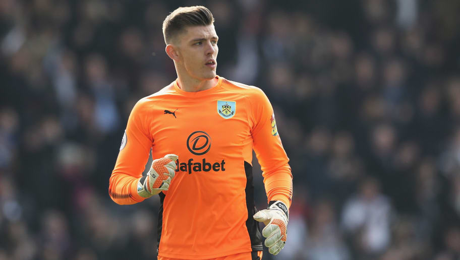 BURNLEY, ENGLAND - APRIL 14:  Nick Pope of Burney in action during the Premier League match between Burnley and Leicester City at Turf Moor on April 14, 2018 in Burnley, England.  (Photo by Matthew Lewis/Getty Images)