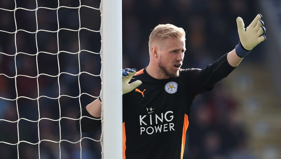 BURNLEY, ENGLAND - APRIL 14:  Kasper Schmeichel of Leicester City in action during the Premier League match between Burnley and Leicester City at Turf Moor on April 14, 2018 in Burnley, England.  (Photo by Matthew Lewis/Getty Images)