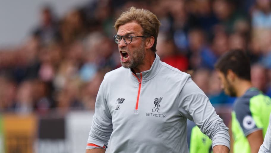 BURNLEY, ENGLAND - AUGUST 20: Jurgen Klopp manager / head coach of Liverpool FC angry on the touchline during the Premier League match between Burnley and Liverpool at Turf Moor on August 20, 2016 in Burnley, England. (Photo by Robbie Jay Barratt - AMA/Getty Images)