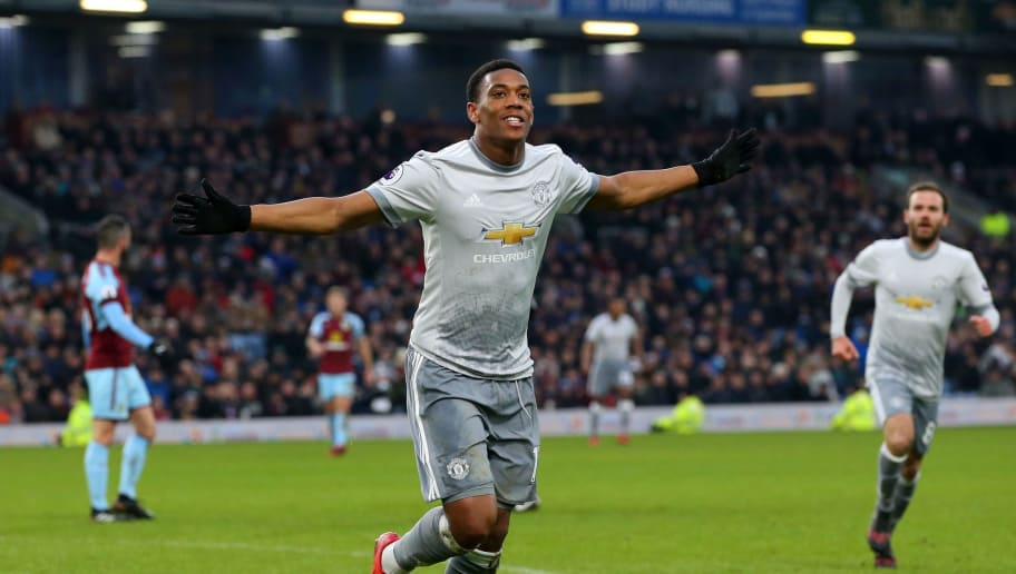 BURNLEY, ENGLAND - JANUARY 20:  Anthony Martial of Manchester United celebrates after scoring his sides first goal during the Premier League match between Burnley and Manchester United at Turf Moor on January 20, 2018 in Burnley, England.  (Photo by Alex Livesey/Getty Images)