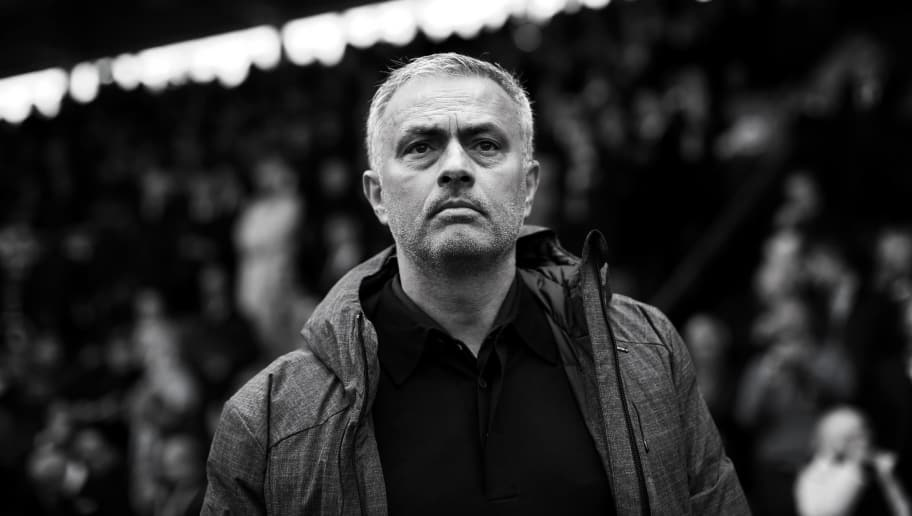 BURNLEY, ENGLAND - APRIL 23:  (EDITORS NOTE: Image has been converted to black and white)  Jose Mourinho, manager of Manchester United looks on before the Premier League match between Burnley and Manchester United at Turf Moor on April 23, 2017 in Burnley, England.  (Photo by Jan Kruger/Getty Images)