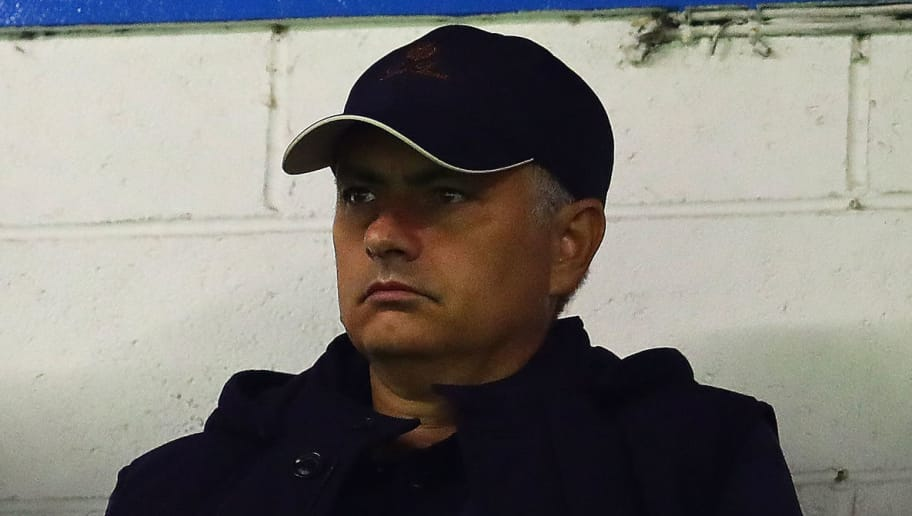 BURNLEY, ENGLAND - AUGUST 30: Manchester United manager Jose Mourinho looks on during the UEFA Europa League Qualifying Play-Off Second Leg match between Burnley and Olympiakos at Turf Moor on August 30, 2018 in Burnley, England. (Photo by Chris Brunskill/Fantasista/Getty Images)