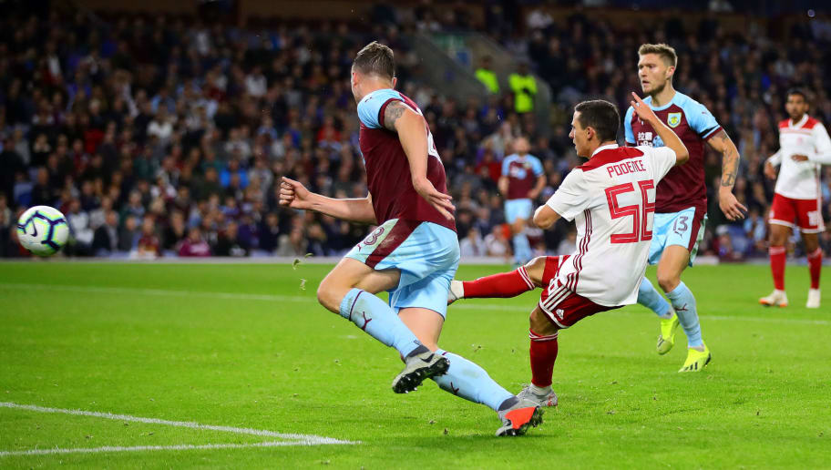 BURNLEY, ENGLAND - AUGUST 30: Daniel Podence of Olympiakos scores his side's first goal during the UEFA Europa League Qualifying Play-Off Second Leg match between Burnley and Olympiakos at Turf Moor on August 30, 2018 in Burnley, England. (Photo by Chris Brunskill/Fantasista/Getty Images)