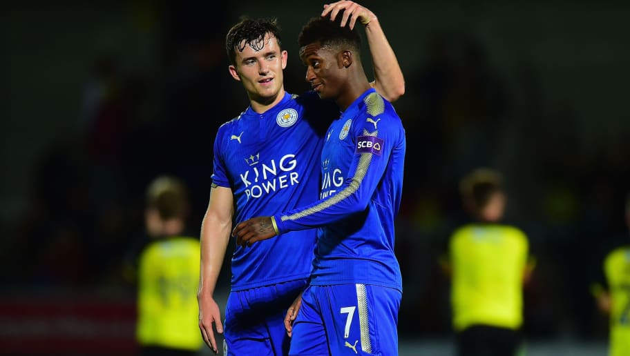 BURTON-UPON-TRENT, ENGLAND - AUGUST 01:  Ben Chilwell and Demarai Gray of Leicester City at the end of the Pre-Season Friendly match between Burton Albion v Leicester City at Pirelli Stadium on August 1, 2017 in Burton-upon-Trent, England.  (Photo by Tony Marshall/Getty Images)