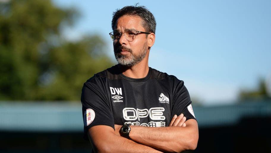 BURY, ENGLAND - JULY 10: David Wagner manager of Huddersfield Town looks on before the pre-season friendly match between Bury and Huddersfield Town during the pre season friendly between Bury and Hufddersfield Town at Gigg Lane on July 10, 2018 in Bury, England. (Photo by Nathan Stirk/Getty Images)