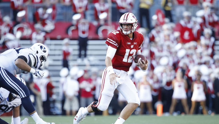 MADISON, WI - SEPTEMBER 15: Alex Hornibrook #12 of the Wisconsin Badgers runs with the ball during the game against the BYU Cougars at Camp Randall Stadium on September 15, 2018 in Madison, Wisconsin. BYU won 24-21. (Photo by Joe Robbins/Getty Images)