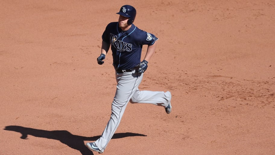 TORONTO, ON - SEPTEMBER 23: C.J. Cron #44 of the Tampa Bay Rays circles the bases after hitting a solo home run in the eighth inning during MLB game action against the Toronto Blue Jays at Rogers Centre on September 23, 2018 in Toronto, Canada. (Photo by Tom Szczerbowski/Getty Images)