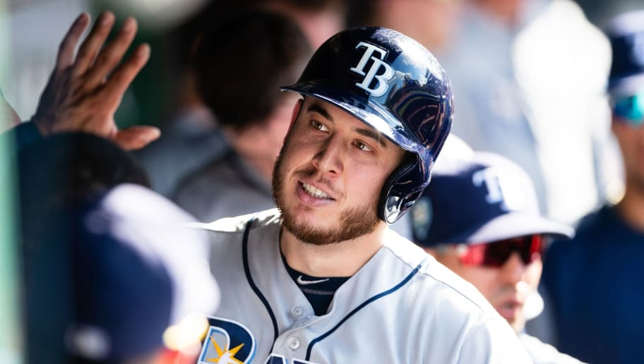 CLEVELAND, OH - SEPTEMBER 2: C.J. Cron #44 of the Tampa Bay Rays celebrates after hitting a solo home run during the fourth inning against the Cleveland Indians at Progressive Field on September 2, 2018 in Cleveland, Ohio. (Photo by Jason Miller/Getty Images)