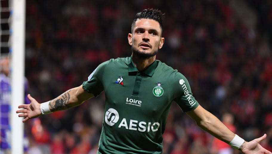 Saint-Etienne's French forward Remy Cabella reacts after scoring a goal during the French L1 football match between Nimes and Saint-Etienne, on October 26, 2018 at the Costieres stadium in Nimes, southern France. (Photo by PASCAL GUYOT / AFP)        (Photo credit should read PASCAL GUYOT/AFP/Getty Images)