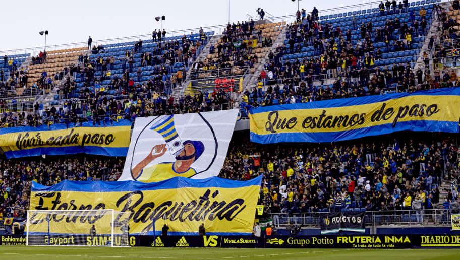CADIZ, SPAIN - NOVEMBER 01: Fans of Cadiz cheer for their team during the Spanish Copa del Rey match between Cadiz and Espanyol at Estadio Ramon de Carranza on November 1, 2018 in Cadiz, Spain.  (Photo by Quality Sport Images/Getty Images)
