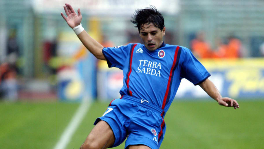Cagliari's forward Mauro Esposito is tac