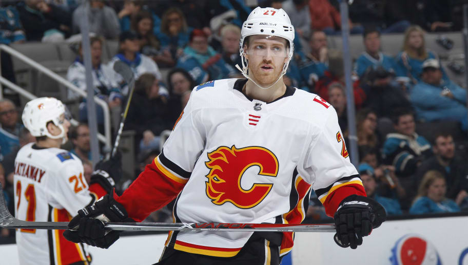 SAN JOSE, CA - MARCH 24: Dougie Hamilton #27 of the Calgary Flames skates against the San Jose Sharks at SAP Center on March 24, 2018 in San Jose, California. (Photo by Rocky W. Widner/NHL/Getty Images) *** Local Caption *** Dougie Hamilton