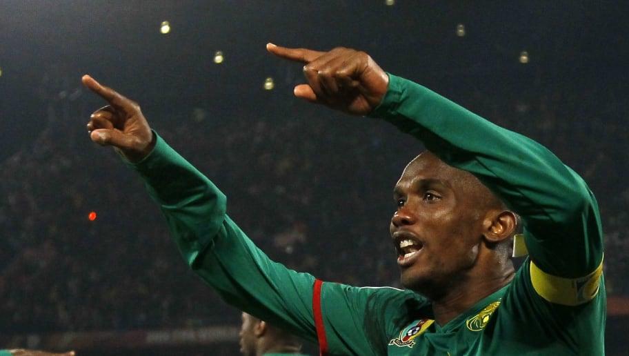 Cameroon's striker Samuel Eto'o celebrat