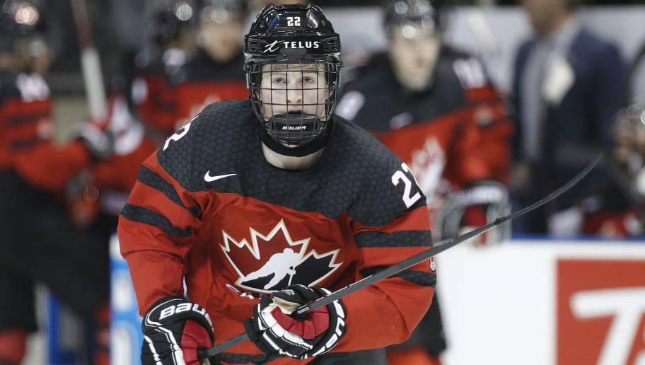 VICTORIA , BC - DECEMBER 21: Alexis Lafreniere #22 of Team Canada skates versus Team Slovakia at the IIHF World Junior Championships at the Save-on-Foods Memorial Centre on December 21, 2018 in Victoria, British Columbia, Canada.  (Photo by Kevin Light/Getty Images)