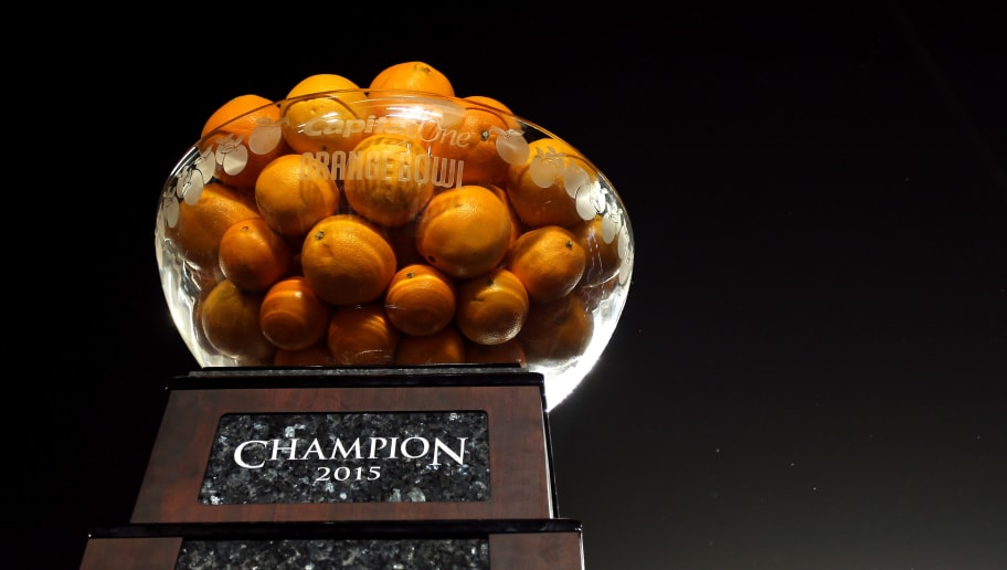 MIAMI GARDENS, FL - DECEMBER 31:  A detailed view of the trophy after the Clemson Tigers defeated the Oklahoma Sooners with a score of 37 to 17 to win the 2015 Capital One Orange Bowl at Sun Life Stadium on December 31, 2015 in Miami Gardens, Florida.  (Photo by Mike Ehrmann/Getty Images)