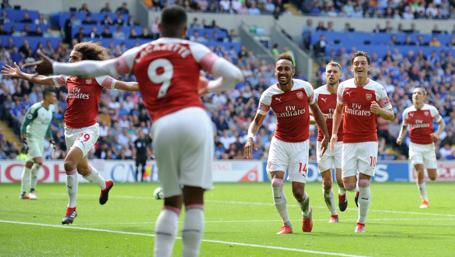 CARDIFF, WALES - SEPTEMBER 2: Pierre-Emerick Aubameyang of Arsenal celebrates scoring his side's second goal during the Premier League match between Cardiff City and Arsenal at Cardiff City Stadium on September 2, 2018 in Cardiff, Wales. (Photo by Athena Pictures/Getty Images)