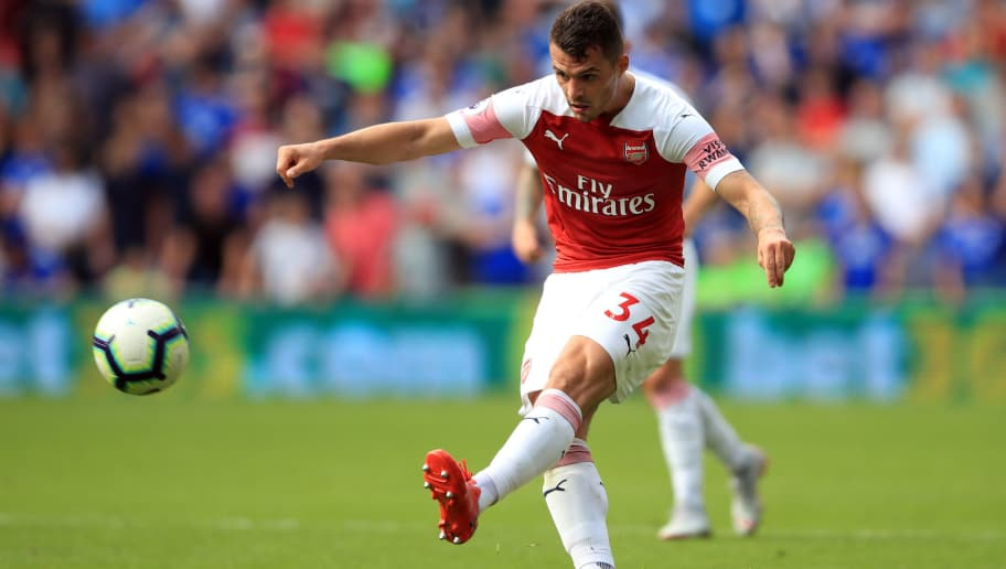 CARDIFF, WALES - SEPTEMBER 02: Granit Xhaka of Arsenal during the Premier League match between Cardiff City and Arsenal FC at Cardiff City Stadium on September 2, 2018 in Cardiff, United Kingdom. (Photo by Marc Atkins/Getty Images)