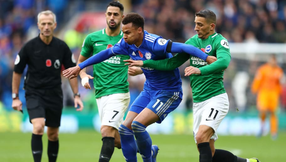 CARDIFF, WALES - NOVEMBER 10:  Josh Murphy of Cardiff City is challenged by Beram Kayal of Brighton and Hove Albion and Anthony Knockaert of Brighton and Hove Albion during the Premier League match between Cardiff City and Brighton & Hove Albion at the Cardiff City Stadium on November 10, 2018 in Cardiff, United Kingdom.  (Photo by Michael Steele/Getty Images)