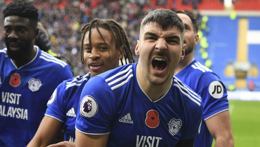 CARDIFF, WALES - NOVEMBER 10: Callum Paterson of Cardiff City celebrates his teams winning goal during the Premier League match between Cardiff City and Brighton & Hove Albion at Cardiff City Stadium on November 10, 2018 in Cardiff, United Kingdom. (Photo by Cardiff City FC/Getty Images)