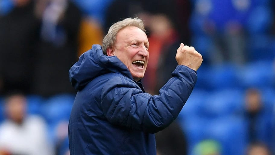 CARDIFF, WALES - NOVEMBER 10:  Neil Warnock, Manager of Cardiff City celebrates following his sides victory in the Premier League match between Cardiff City and Brighton & Hove Albion at the Cardiff City Stadium on November 10, 2018 in Cardiff, United Kingdom.  (Photo by Dan Mullan/Getty Images)