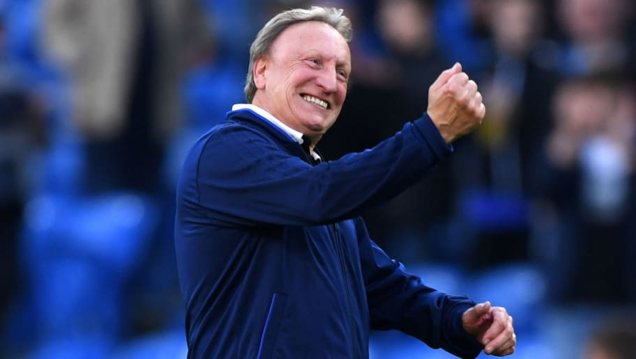 CARDIFF, WALES - OCTOBER 20:  Neil Warnock, Manager of Cardiff City celebrates victory after the Premier League match between Cardiff City and Fulham FC at Cardiff City Stadium on October 20, 2018 in Cardiff, United Kingdom.  (Photo by Stu Forster/Getty Images)
