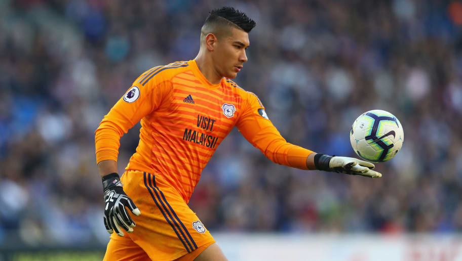 CARDIFF, WALES - OCTOBER 20:  Neil Etheridge of Cardiff City during the Premier League match between Cardiff City and Fulham FC at Cardiff City Stadium on October 20, 2018 in Cardiff, United Kingdom.  (Photo by Michael Steele/Getty Images)