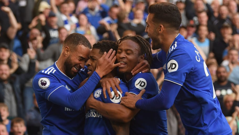 CARDIFF, WALES - OCTOBER 20:  Cardiff player Kadeem Harris (2nd left) celebrates with team mates after scoring the fourth Cardiff goal during the Premier League match between Cardiff City and Fulham FC at Cardiff City Stadium on October 20, 2018 in Cardiff, United Kingdom.  (Photo by Stu Forster/Getty Images)
