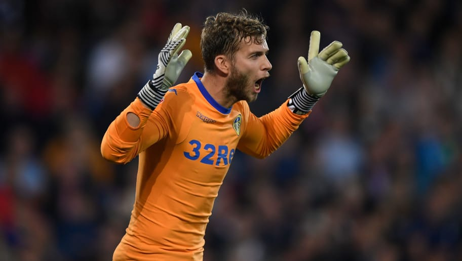 CARDIFF, WALES - SEPTEMBER 26:  Leeds goalkeeper Felix Wiedwald reacts during the Sky Bet Championship match between Cardiff City and Leeds United at Cardiff City Stadium on September 26, 2017 in Cardiff, Wales.  (Photo by Stu Forster/Getty Images)