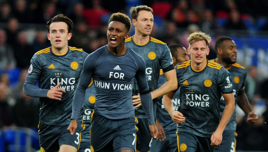 CARDIFF, WALES - NOVEMBER 3: Demarai Gray of Leicester City celebrates scoring the opening goal during the Premier League match between Cardiff City and Leicester City at Cardiff City Stadium on November 3, 2018 in Cardiff, Wales. (Photo by Athena Pictures/Getty Images)