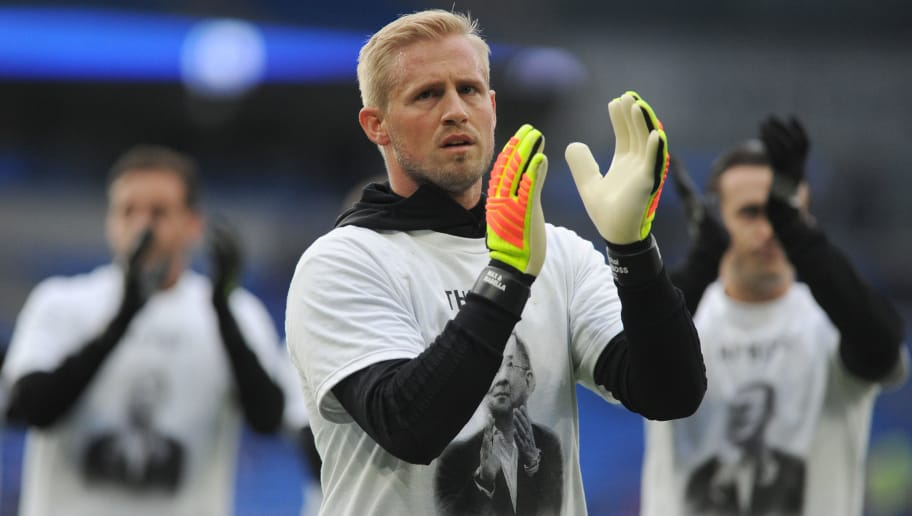CARDIFF, WALES - NOVEMBER 3: Kasper Schmeichel of Leicester City during the pre-match warm-up for the Premier League match between Cardiff City and Leicester City at Cardiff City Stadium on November 3, 2018 in Cardiff, Wales. (Photo by Athena Pictures/Getty Images)