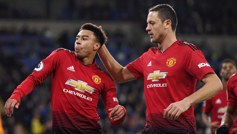 CARDIFF, WALES - DECEMBER 22:  Jesse Lingard of Manchester United celebrates with teammate Ander Herrera after scoring his team's fourth goal during the Premier League match between Cardiff City and Manchester United at Cardiff City Stadium on December 22, 2018 in Cardiff, United Kingdom.  (Photo by Stu Forster/Getty Images)