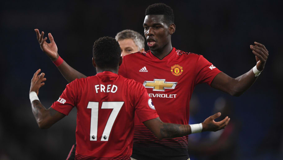 CARDIFF, WALES - DECEMBER 22:  Manchester United players Fred and Paul Pogba celebrate after the Premier League match between Cardiff City and Manchester United at Cardiff City Stadium on December 22, 2018 in Cardiff, United Kingdom.  (Photo by Stu Forster/Getty Images)