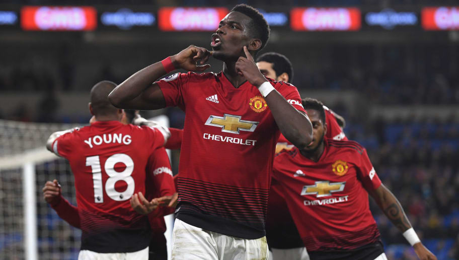 CARDIFF, WALES - DECEMBER 22:  Manchester United player Paul Pogba celebrates after the 5th goal during the Premier League match between Cardiff City and Manchester United at Cardiff City Stadium on December 22, 2018 in Cardiff, United Kingdom.  (Photo by Stu Forster/Getty Images)