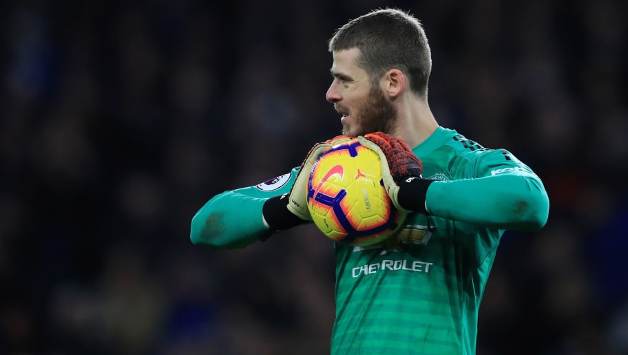 CARDIFF, WALES - DECEMBER 22:  David De Gea of Manchester United in action during the Premier League match between Cardiff City and Manchester United at Cardiff City Stadium on December 22, 2018 in Cardiff, United Kingdom.  (Photo by Marc Atkins/Getty Images)