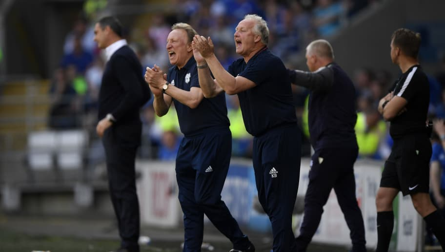 CARDIFF, WALES - MAY 06:  Neil Warnock, Manager of Cardiff City and  Kevin Blackwell, Cardiff City assistant manager give their team instructions during the Sky Bet Championship match between Cardiff City and Reading at Cardiff City Stadium on May 6, 2018 in Cardiff, Wales.  (Photo by Stu Forster/Getty Images)