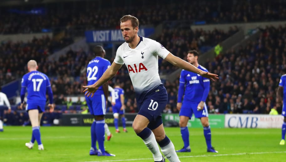 CARDIFF, WALES - JANUARY 01:  Harry Kane of Tottenham Hotspur celebrates as he scores his team's first goal during the Premier League match between Cardiff City and Tottenham Hotspur at Cardiff City Stadium on January 1, 2019 in Cardiff, United Kingdom.  (Photo by Michael Steele/Getty Images)